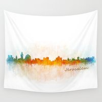islam Wall Tapestries featuring Jerusalem City Skyline Hq v3 by HQPhoto