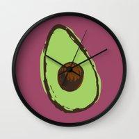 avocado Wall Clocks featuring avocado  by Marzipan