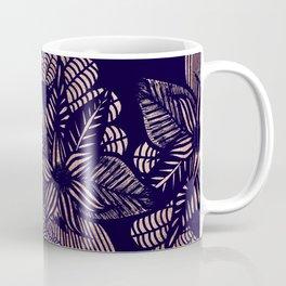 Elegant Rose Gold Floral Drawings on Navy Blue Coffee Mug
