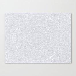 The Most Detailed Intricate Mandala (Light Gray) Maze Zentangle Popular Trending Pattern Design Canvas Print