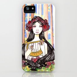 Harp Watercolor Painting by Grimmiechan iPhone Case