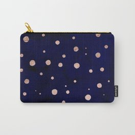 Navy blue watercolor chic rose gold modern confetti polka dots pattern Carry-All Pouch