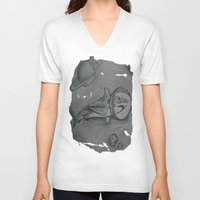 outer space V-neck T-shirts featuring Outer Space Shark by Pink Shark Scales