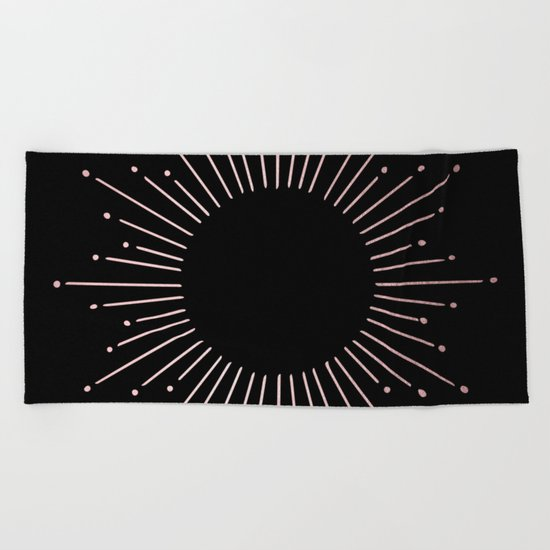 Sunburst Rose Quartz Elegance on Black Beach Towel