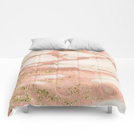 Marble - Rose Gold Shimmer Marble with Yellow Gold Glitter Comforters
