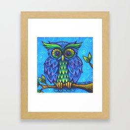 Owl in Blue Framed Art Print