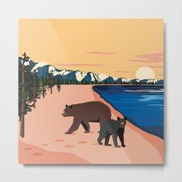 Beach Bears Lake Tahoe Metal Print