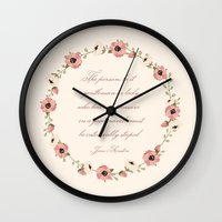 jane austen Wall Clocks featuring Jane Austen Quote by Patty Marq