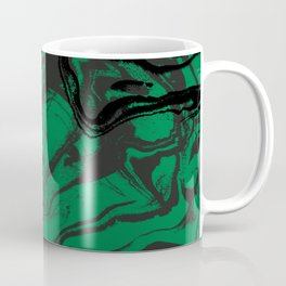 Suminagashi marble malachite green marbled pattern spilled ink abstract art Coffee Mug