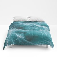Comforters featuring Electric Ocean by Luke Gram