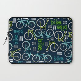 Watercolor Blue and Green Bike Laptop Sleeve