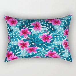 Tropical Hibiscus Pattern Pink Rectangular Pillow