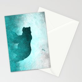 Teal Ghost Bear Stationery Cards
