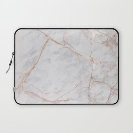 White Italian Marble & Gold Laptop Sleeve