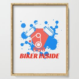 "A Nice Inside Theme Tee For You Who Loves Being Inside Saying ""Biker Inside"" T-shirt Design Bicycle Serving Tray"