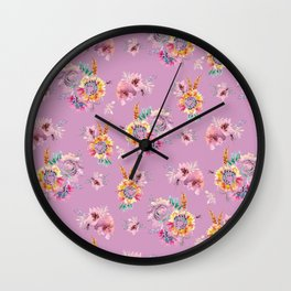 Meadow Flowers on Pastel Purple Wall Clock