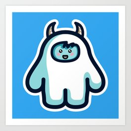 Kawaii Cute Abominable Snowman Yeti Art Print