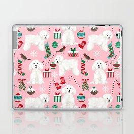 Bichon Frise pink christmas holiday themed pattern print pet friendly dog breed gifts Laptop & iPad Skin
