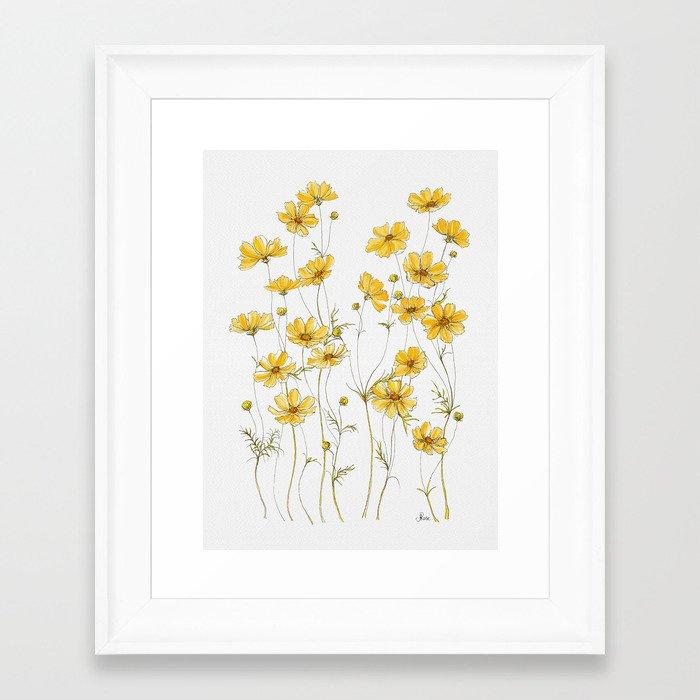 Yellow Cosmos Flowers Framed Art Print