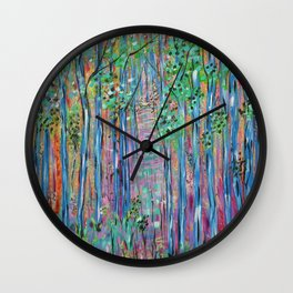 Teal Blue Abstract Forest Landscape, Forest Secrets, Fantasy Fairy Art Wall Clock