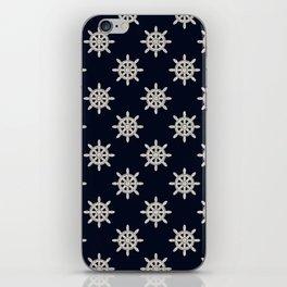 Maritime Design - Nautic Wheel in white on darkblue background iPhone Skin