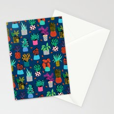 Check It - house plants indoor monstera neon bright modern pattern retro throwback memphis style Stationery Cards