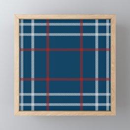 Red, White & Blue Plaid Tartan Pattern Framed Mini Art Print