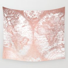 Rose Gold Pink Antique World Map by Nature Magick Wall Tapestry