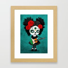 Day of the Dead Girl Playing Irish Flag Guitar Framed Art Print