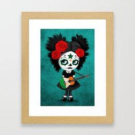 Day of the Dead Girl Playing Irish Flag Guitar Framed Art Print