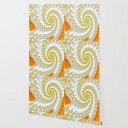 Yellow & Orange Swirls Fractal Art Wallpaper
