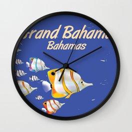 Grand Bahama Retro Plane travel poster Wall Clock