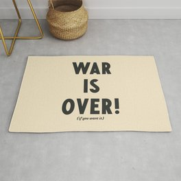 War is over, if you want it, peace message, vintage illustration, anti-war, Happy Xmas, song quote Rug