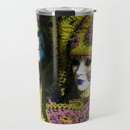 Glamorous Couple With Carnival Costumes Travel Mug