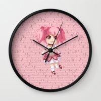 madoka Wall Clocks featuring Madoka Kaname by Nozubozu
