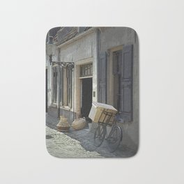 Bicycle on a street by the Zuider Zee in the Netherlands Bath Mat