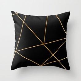 Geometric black gold Throw Pillow