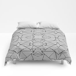 Abstract Mirror Black on White Comforters