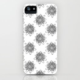 Passionflower Black and White Flower Illustrated Print iPhone Case