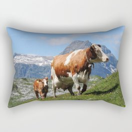 Mother and Baby Cow Switzerland Rectangular Pillow