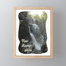 Cascade at the top of the Flume cataract, New Hampshire. Framed Mini Art Print