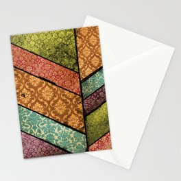 Vintage Material Chevron Stationery Cards