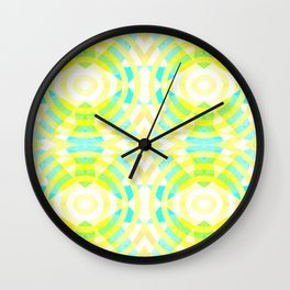 Funky geometry in yellow and blue Wall Clock