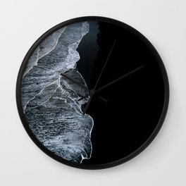 Waves on a black sand beach in iceland - minimalist Landscape Photography Wall Clock