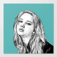 jennifer lawrence Canvas Prints featuring Jennifer Lawrence by Sharin Yofitasari