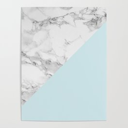 Marble + Pastel Blue Poster