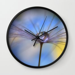 Cool Water A droplet on a Dandelion Seed Parachute Wall Clock