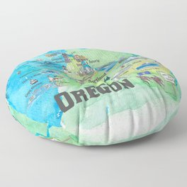 USA Oregon State Travel Poster Illustrated Art Map Floor Pillow
