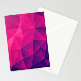 Abstract Polygon Multi Color Cubizm Painting in deep pink/purple  Stationery Cards