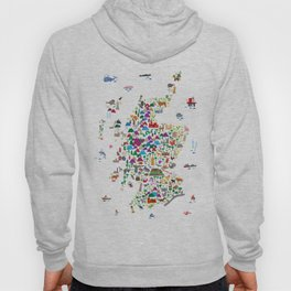 Animal Map of Scotland for children and kids Hoody